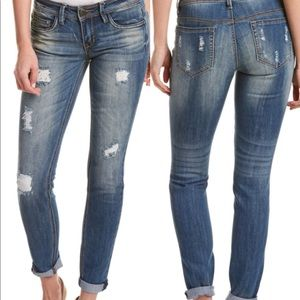 Dollhouse Charley Mid Rise Distressed Crop Jeans